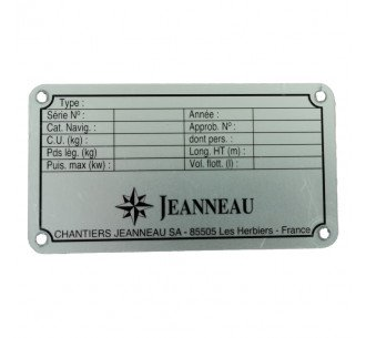 Nameplate for Jeanneau boat